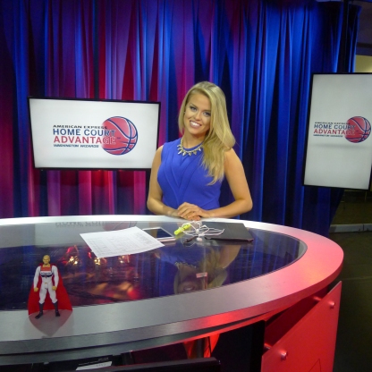 Hayley Milon on the set of American Express Home Court Advantage.